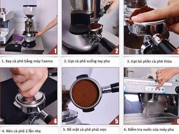 6 Bước đầu tiên để pha cà phê Espresso bằng máy pha cafe Faema R98 RE RE A2